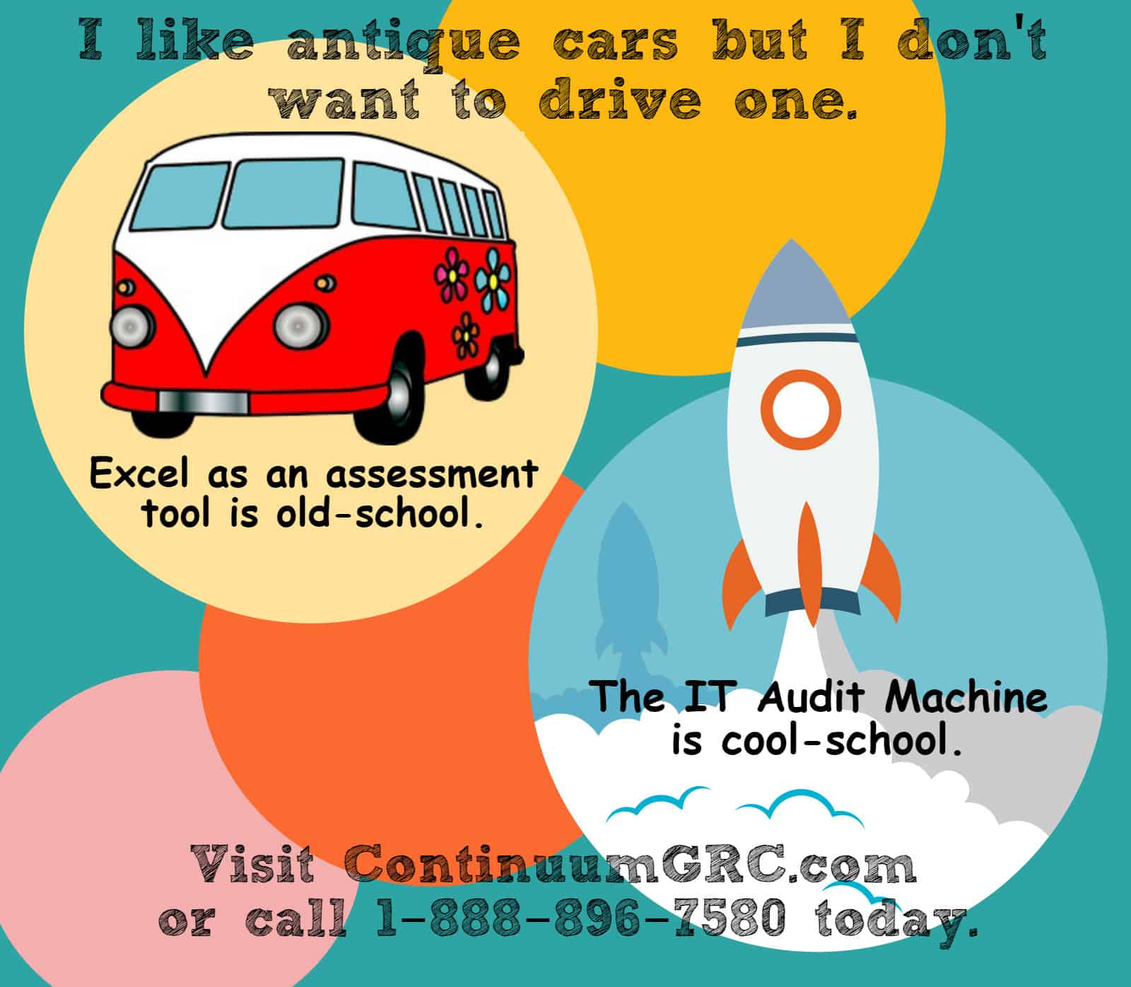 Cool School -vs- Old School compares assessments done with Excel and the IT Audit Machine.